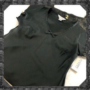 100% silk black top by Allison Taylor size xl